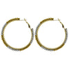 Round Silver & Golden Crystal Earrings