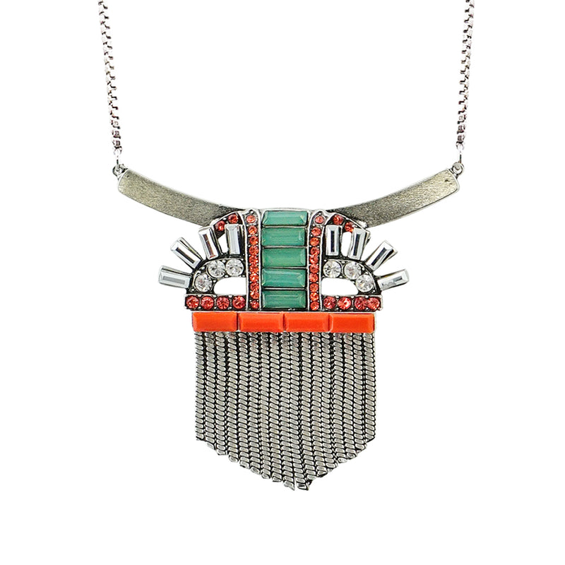 Silver Necklace w/ Multicolored Crystal Pendant