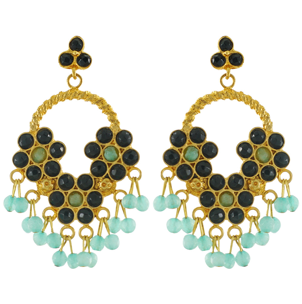 Golden Earrings w/ Multicolored Stones