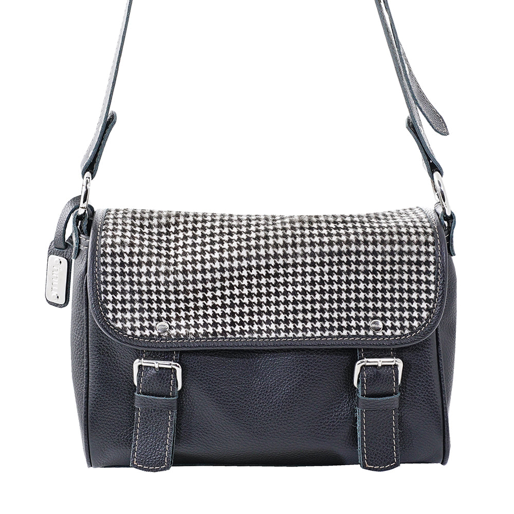 Black Leather Bag  with Pied de Poule Pattern