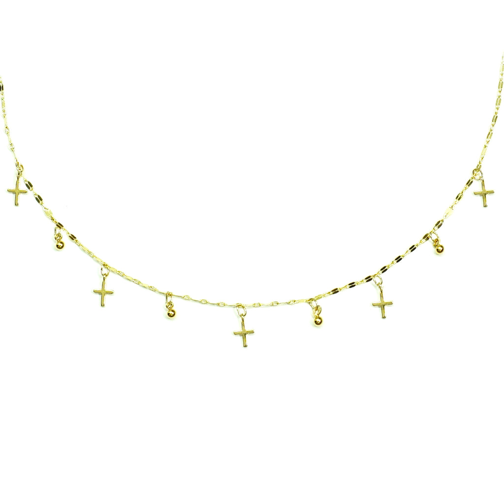 Gold necklace with crosses