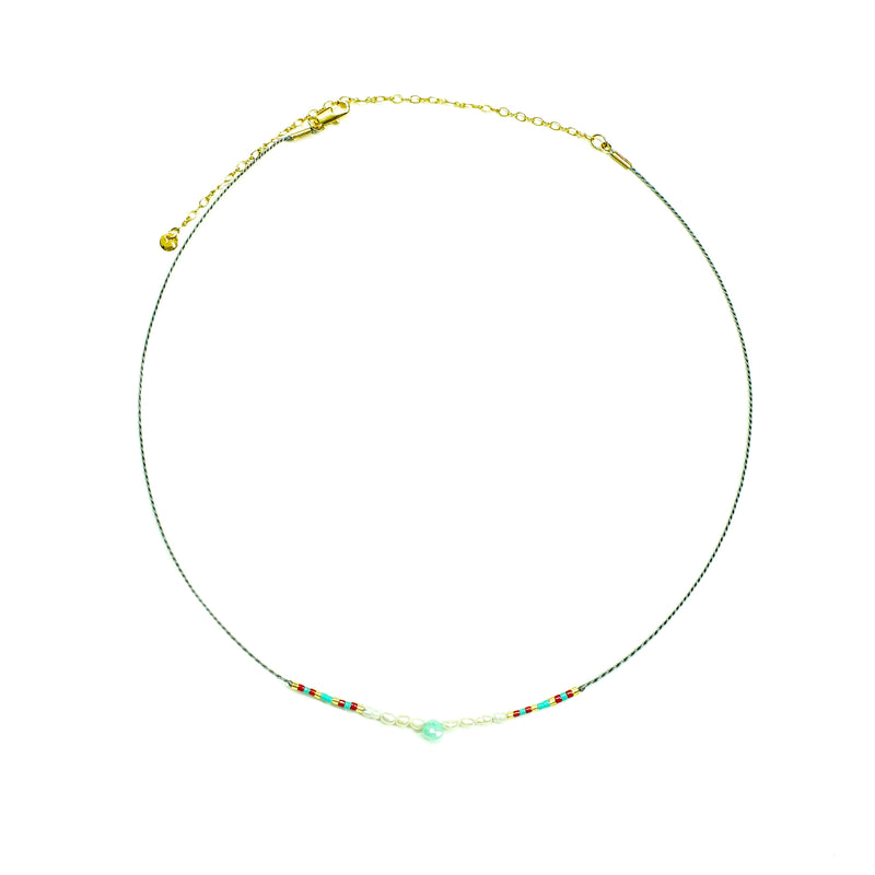 Gold necklace w/ multicolored miyuki beads, pearls and blue stone