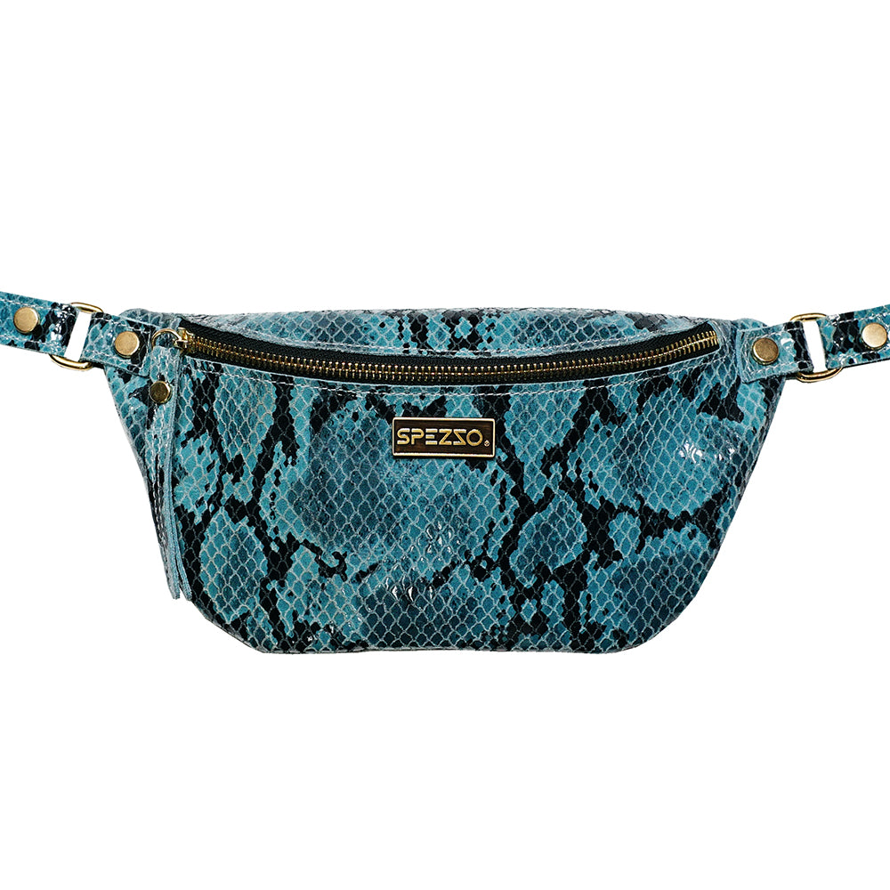 Blue Piton Leather Waist Bag