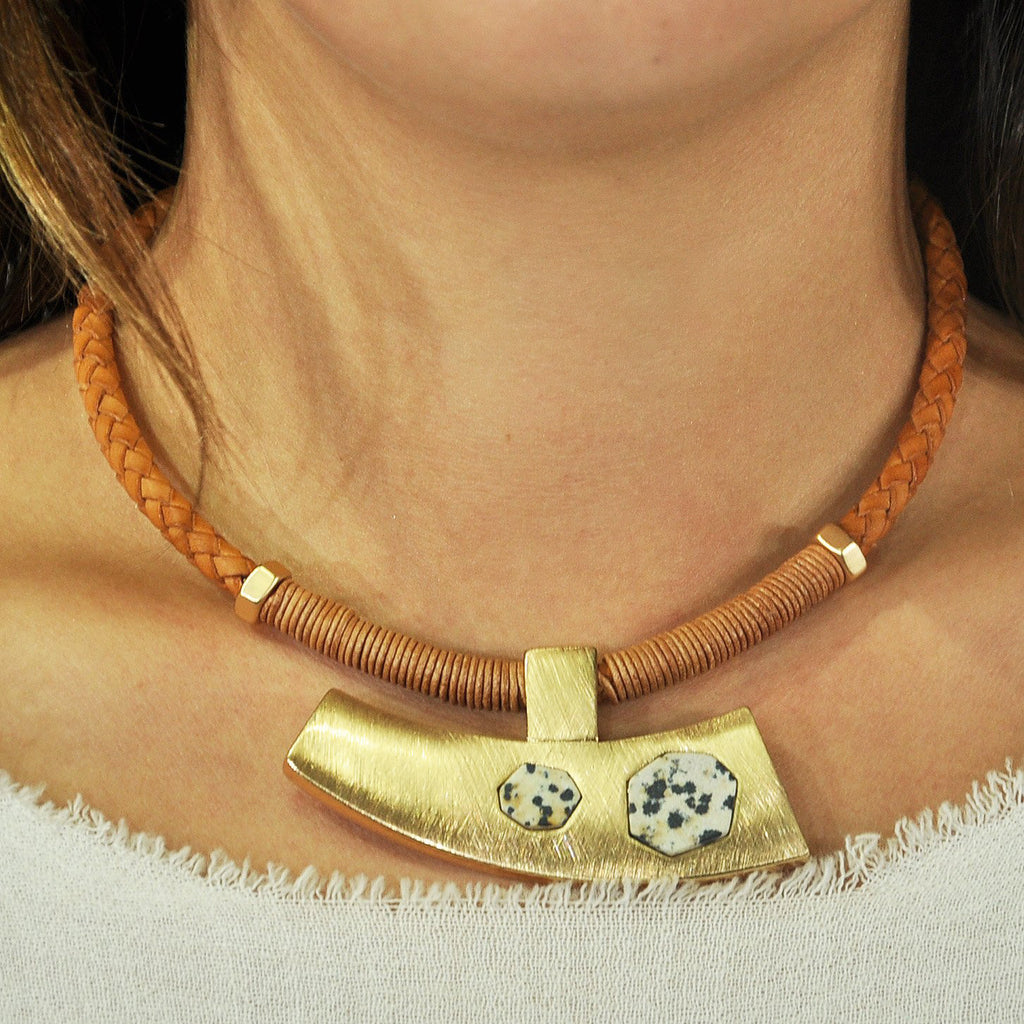 Leather Necklace w/ Golden Pendant & Stones