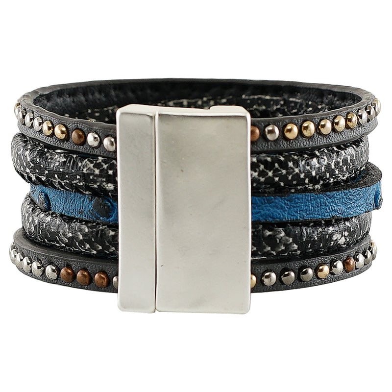 Black & Blue Leather Bracelet w/ Silver Details