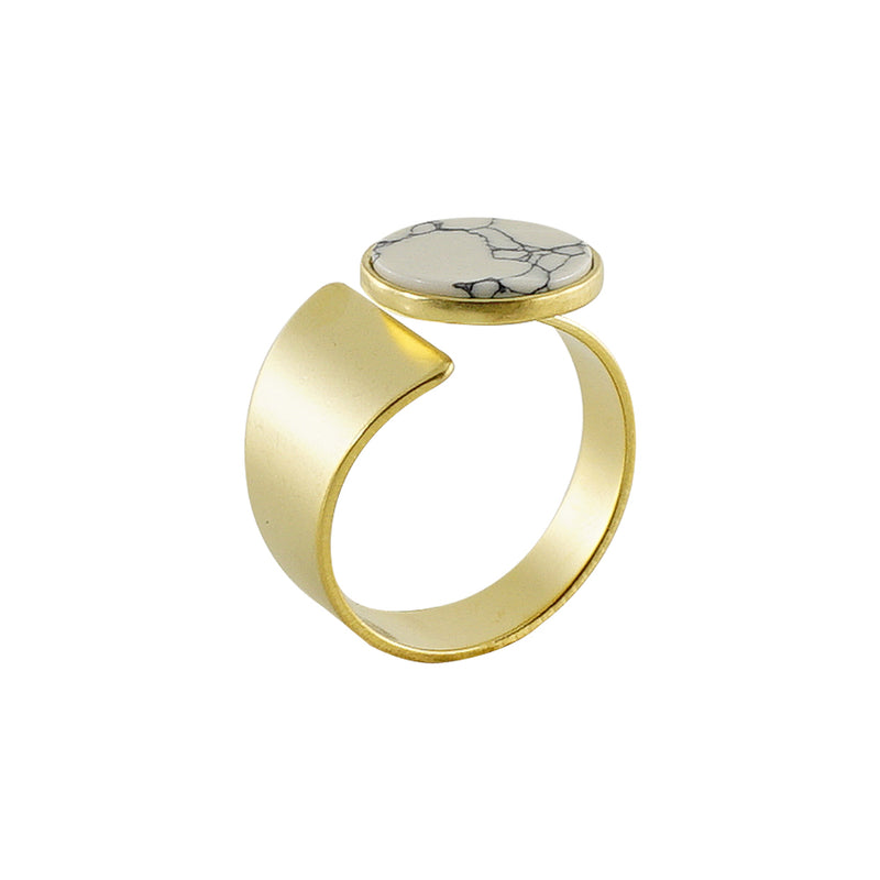 Golden Ring w/ White Stone