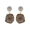 Brown Stone Earrings w/ Grey Crystal