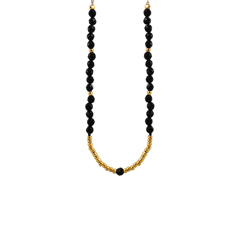 Golden Necklace w/ Black Beads