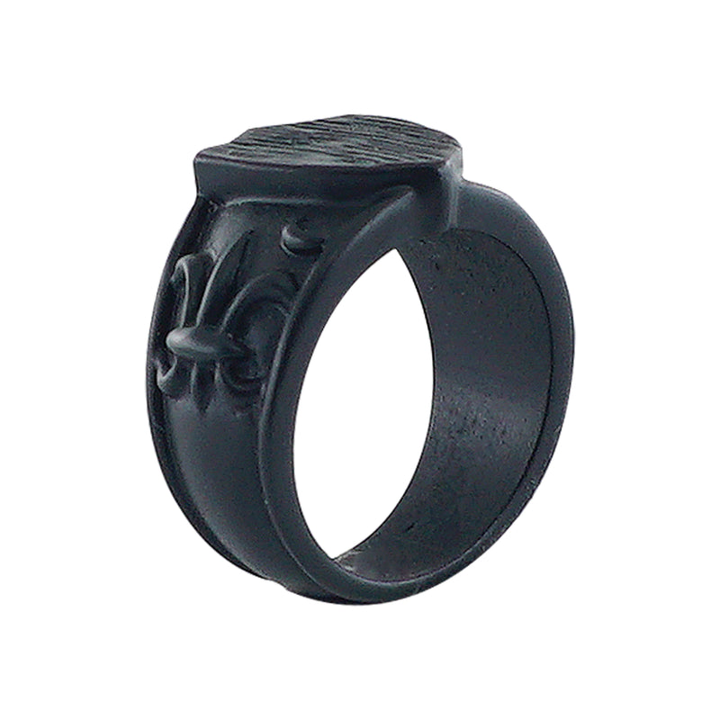 Black Ring w/ Fleur de Lys & Shield