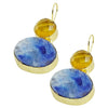 Golden Earrings w/ Yellow & Blue Stone