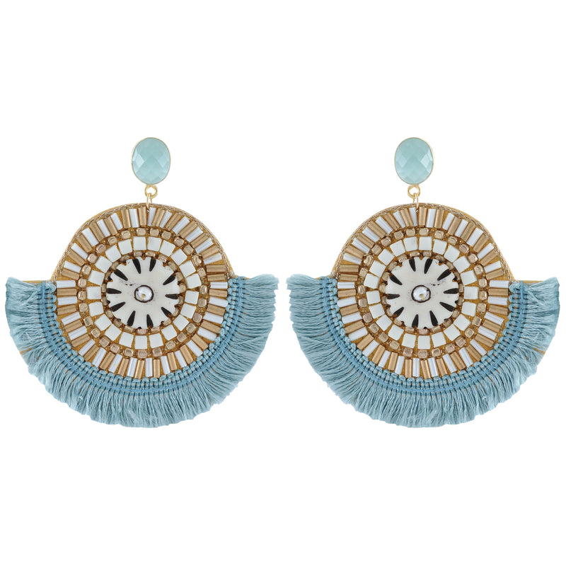 Blue Tassel, Stones & Crystal Earrings