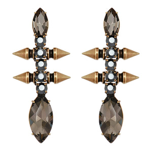 Bronze Earrings with Black Crystals