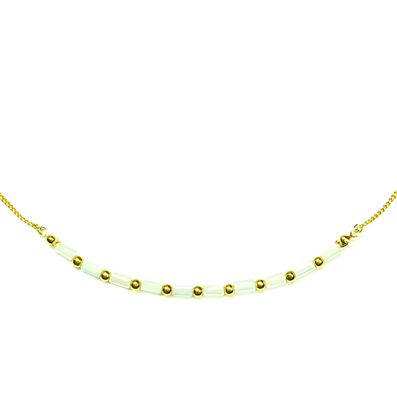 Gold necklace W/ white beads