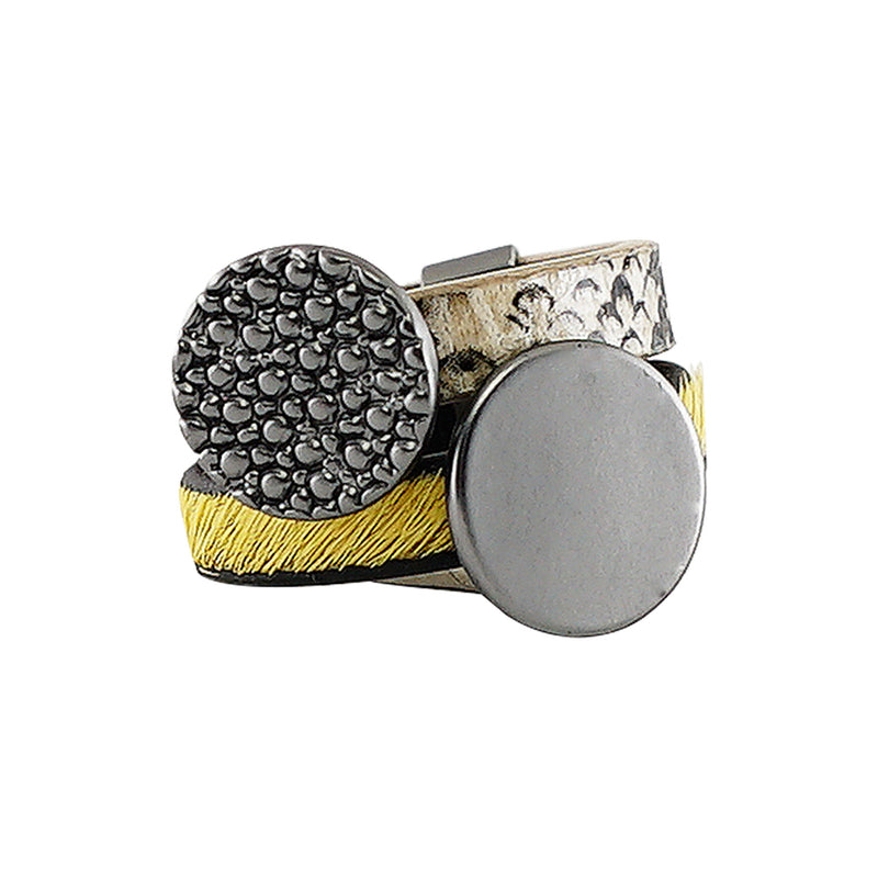 Yellow & Cream Ring w/ Gunmetal Details