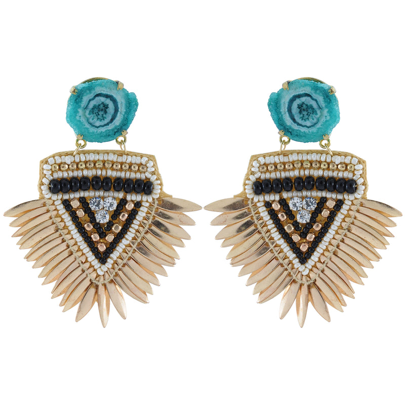 Golden Earrings w/ Blue Stone
