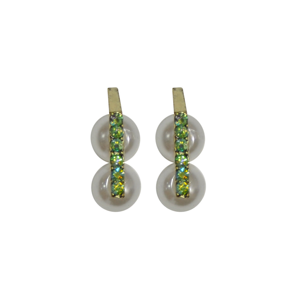 Green crystal earrings with pearls