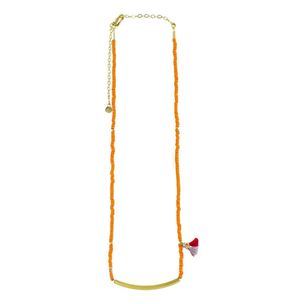 Golden Necklace w/ Orange Miyuki Stones