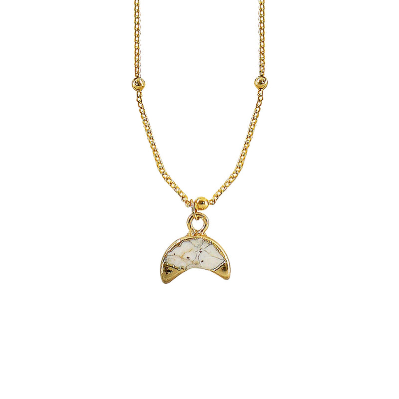 Golden Necklace w/ White Stone
