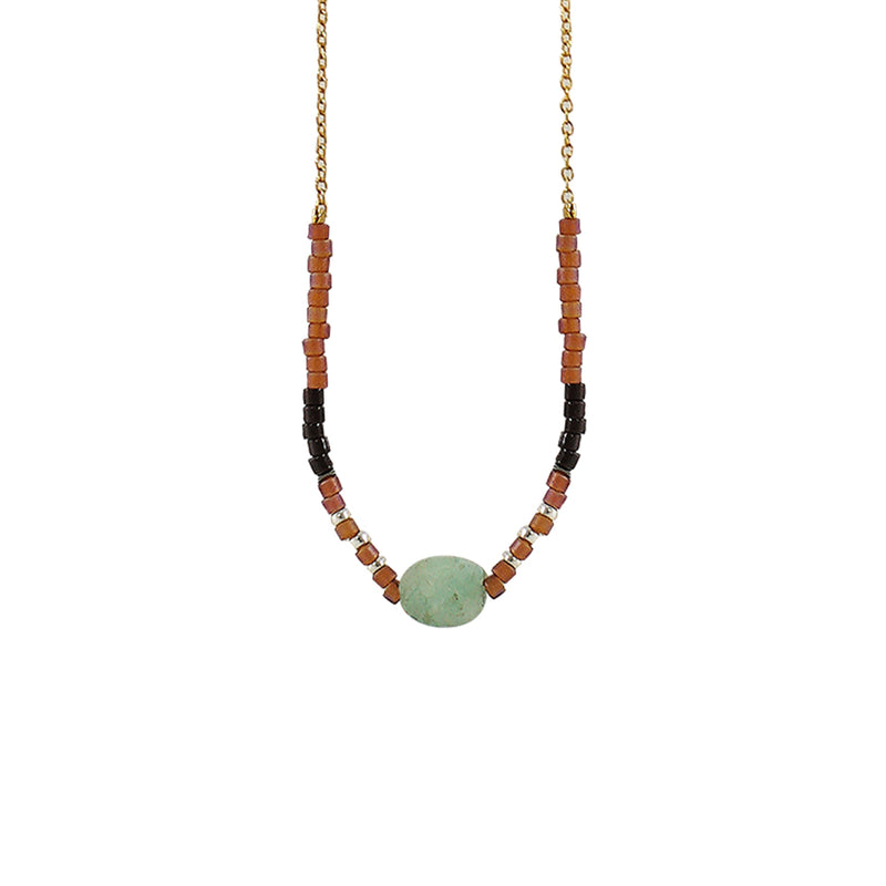 Golden Necklace w/ Brown Details & Green Stone
