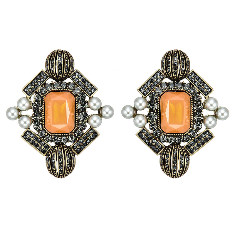 Orange Crystal Earrings w/ Pearls