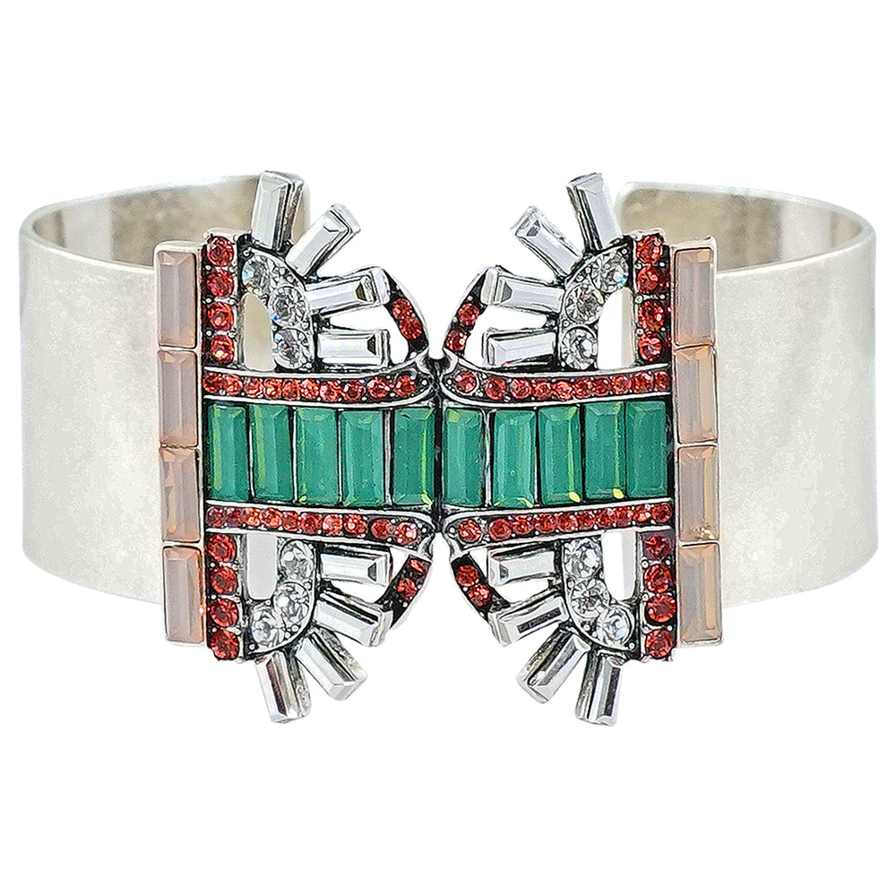 Silver Bracelet w/ Multicolored Crystals