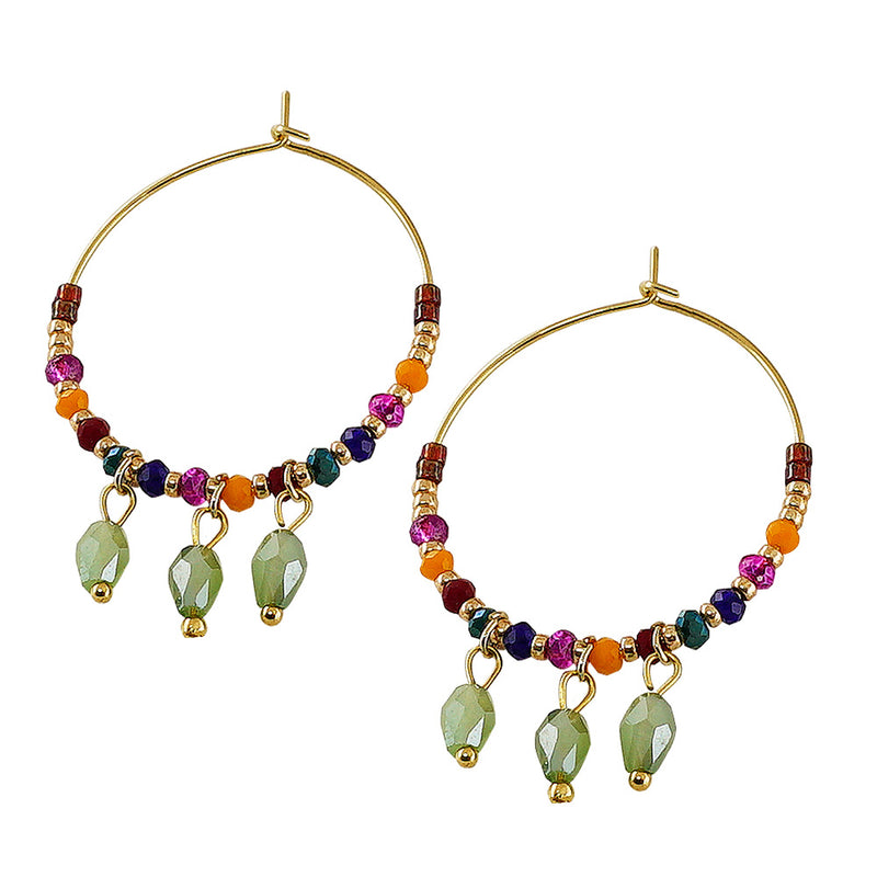 Golden Hoops w/ Multicolored Crystals
