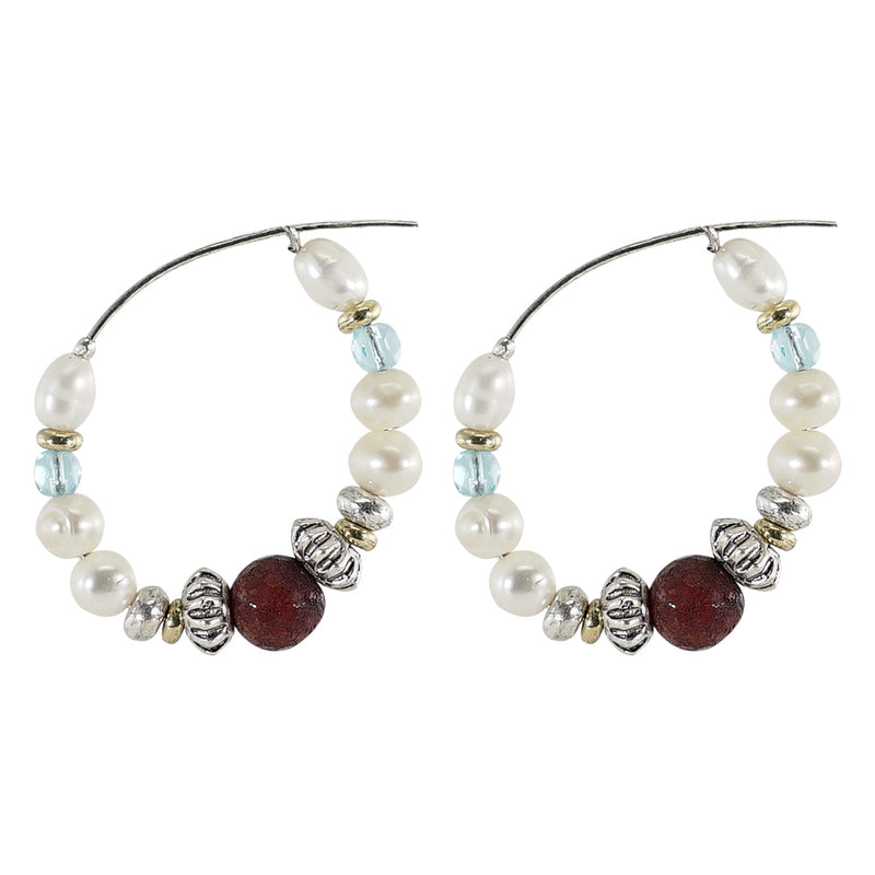 Pearl and Crystal Hoops