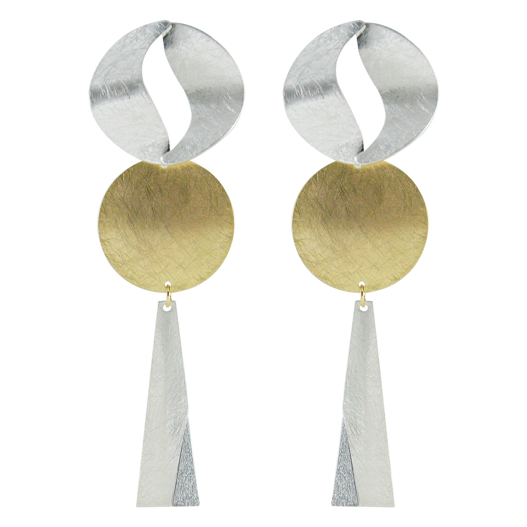 Scratched Golden & Silver Earrings