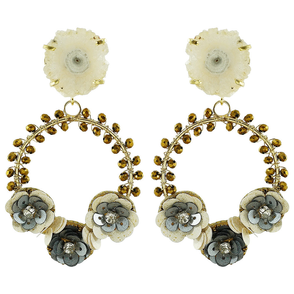 White Stone & Crystals Earrings