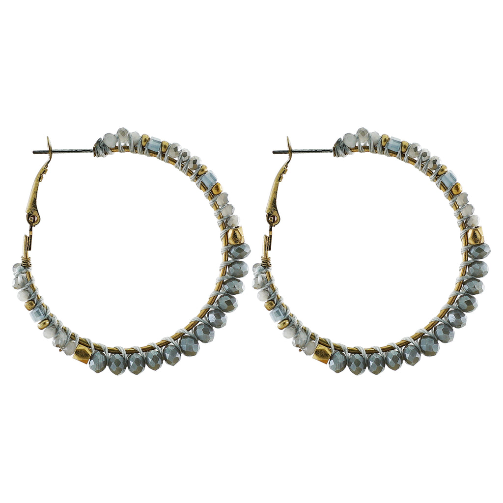 Round Grey Crystal Earrings