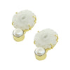Golden Earrings w/ White Stone & Cultured Pearl