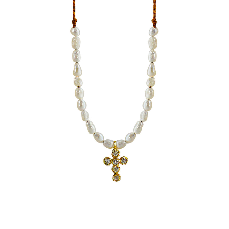 Brown Necklace w/ Cultured Pearls & Cross Pendant