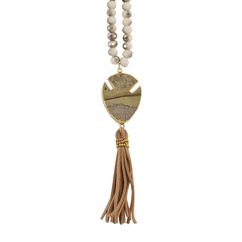 Crystal Necklace w/ Stone, Golden Details & Suede Tassel