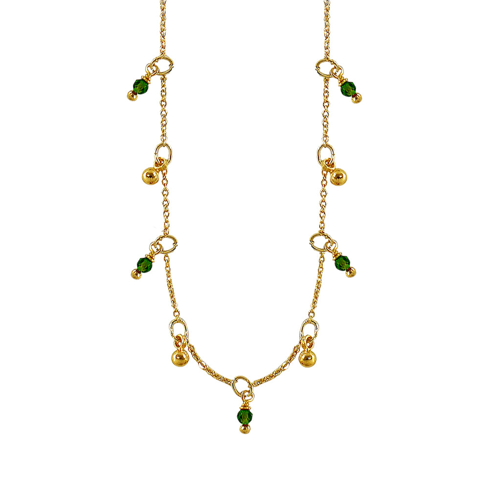 Golden Necklace w/ Green Crystals