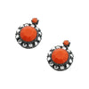 Gunmetal Earrings w/ Orange & Silver Crystals