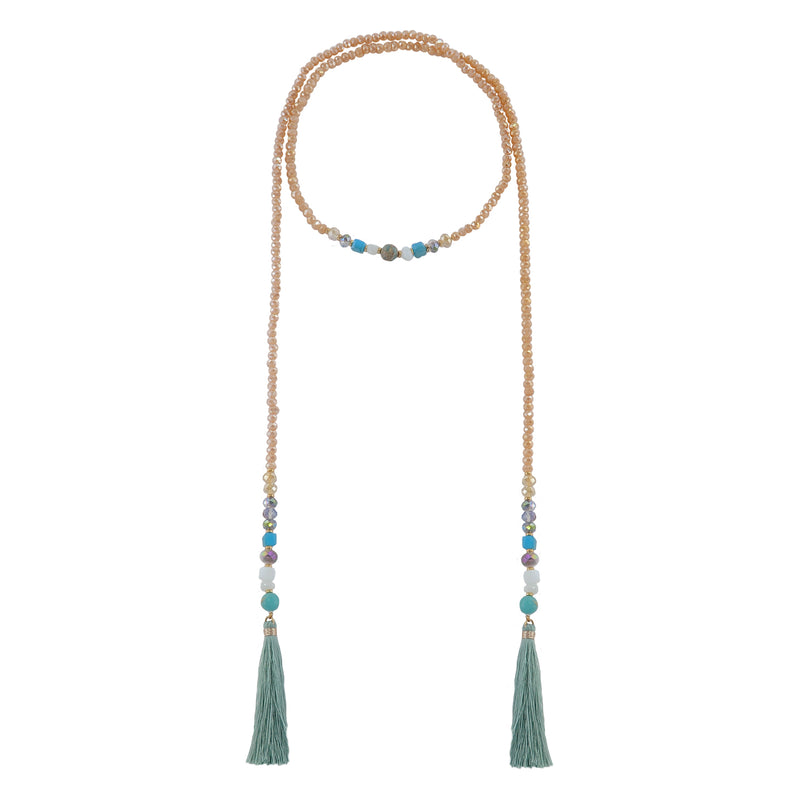 Crystal & Stone Necklace w/ Silk Tassels