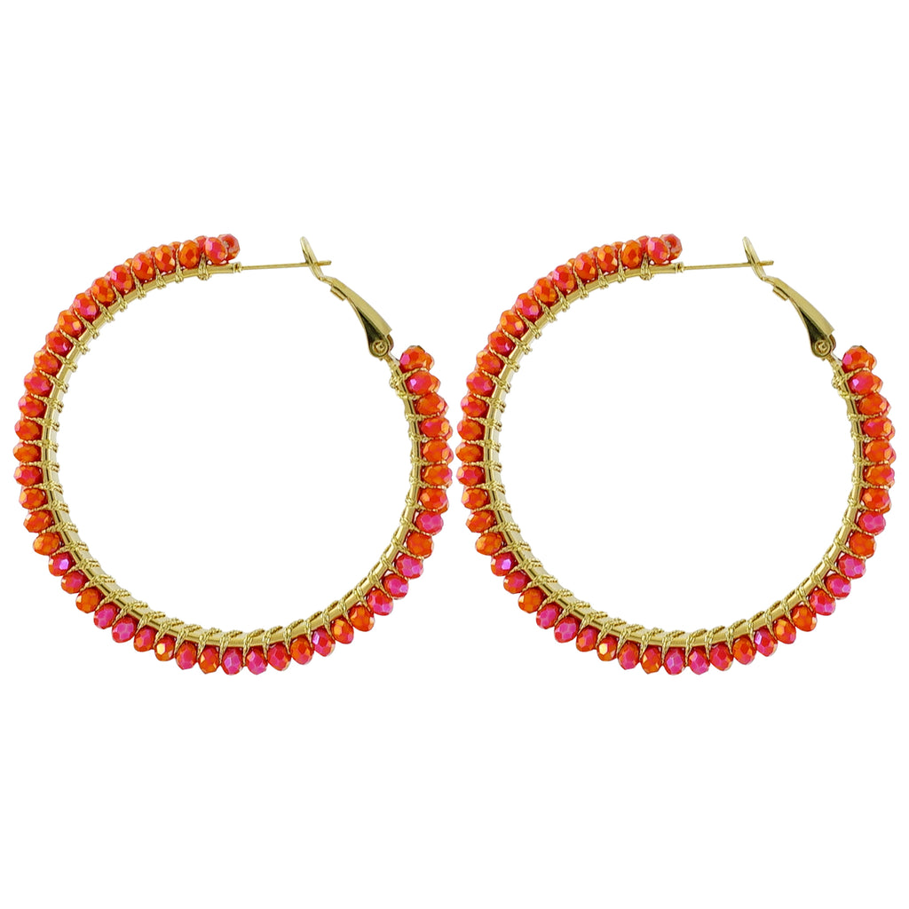 Round Orange Crystal Earrings