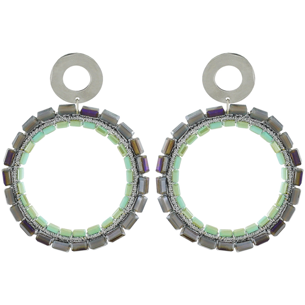 Cyan & Grey Crystal Earrings