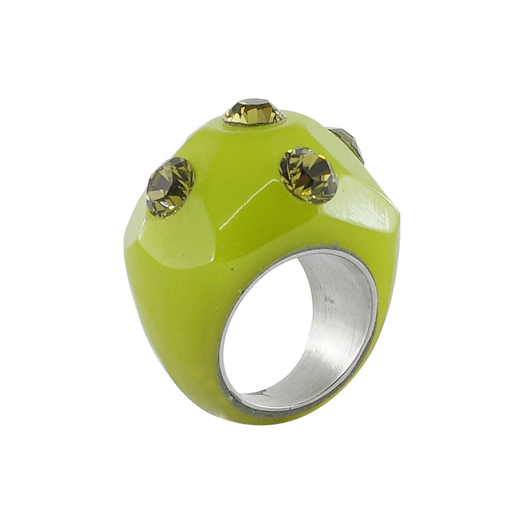 Green Resin Ring w/ Crystals
