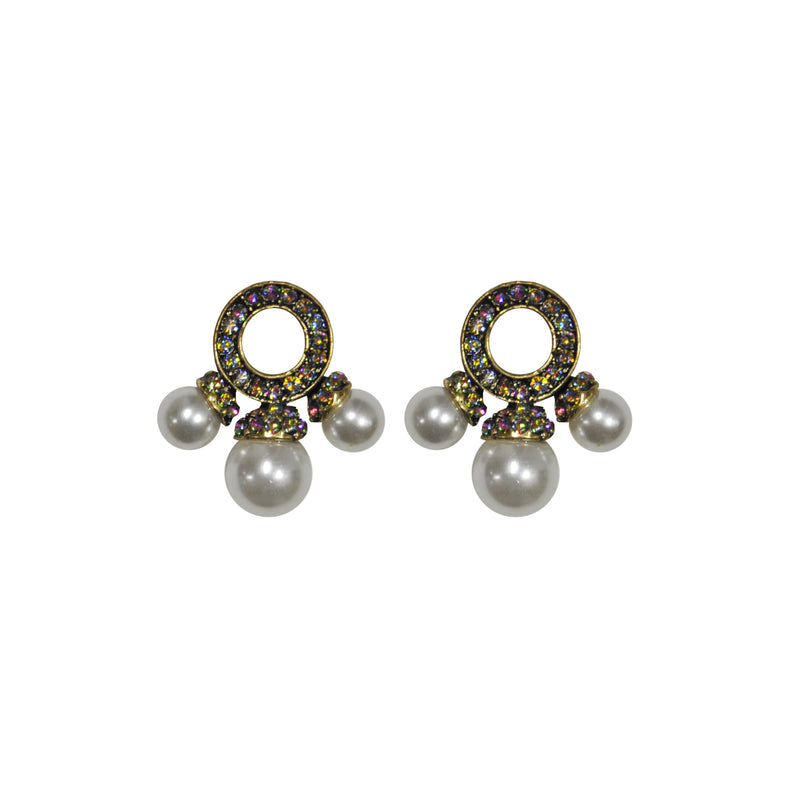 Multicolor crystal earrings with pearls