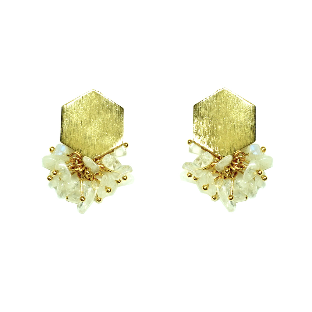 Gold earrings w/ translucent stones
