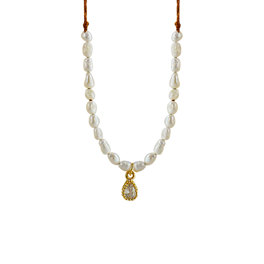 Brown Necklace w/ Cultured Pearls & Drop Pendant