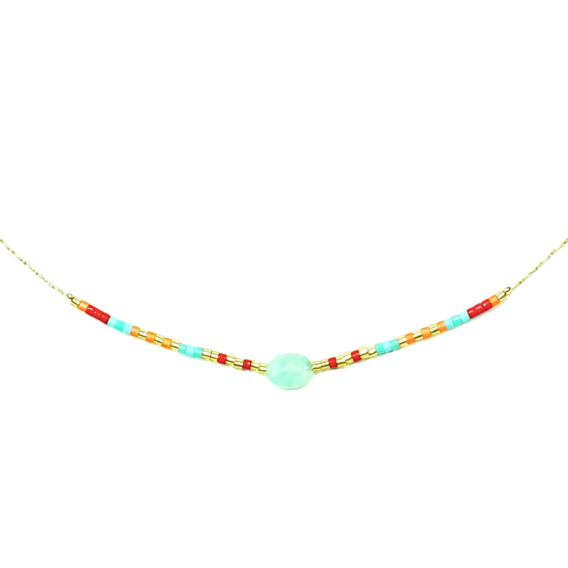 Gold necklace w/ multicolored miyuki beads and blue stone