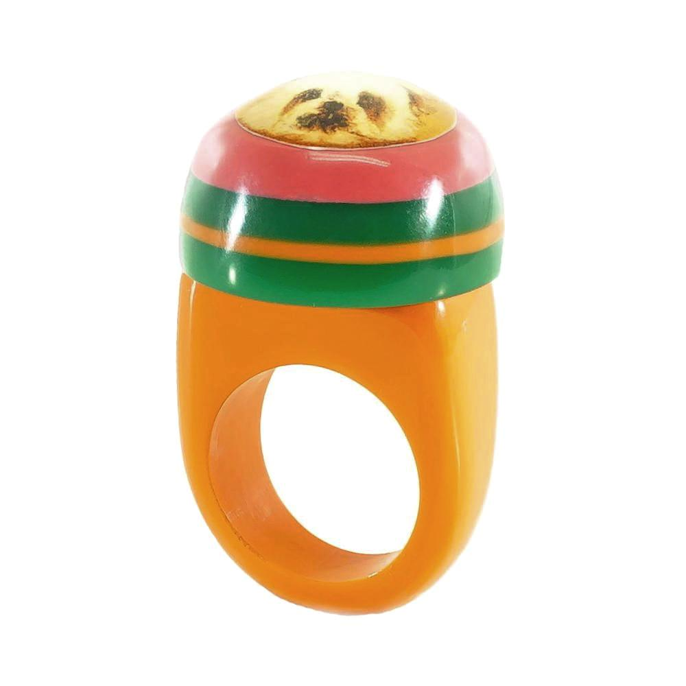 Orange, Green and Pink Resin Ring