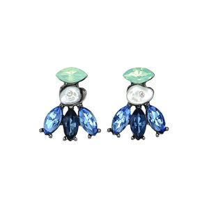 Blue Crystal Earrings w/ Pearl