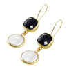 Golden Earrings w/ Mother of Pearl & Dark Blue Zircon