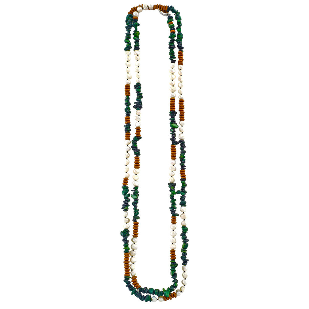 Green Stone Necklace w/ Cultured Pearls