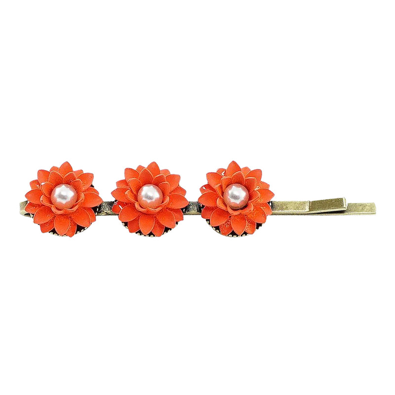Brass Hairclip w/ Red Flowers