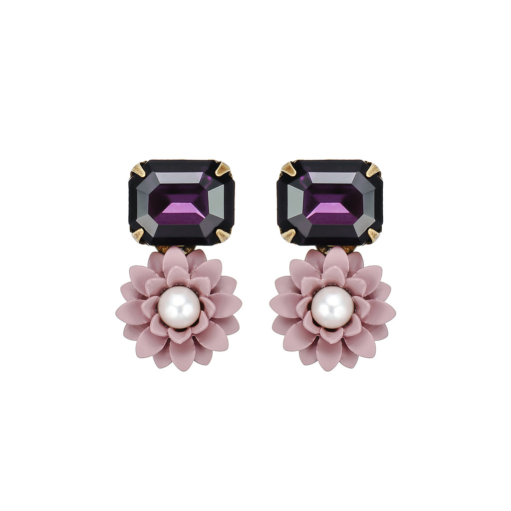 Purple Flower & Crystal Earrings