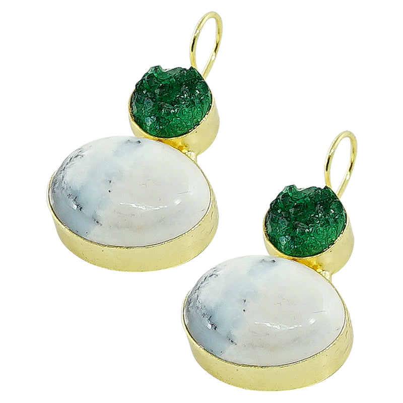 Golden Earrings w/ Green & White Stones